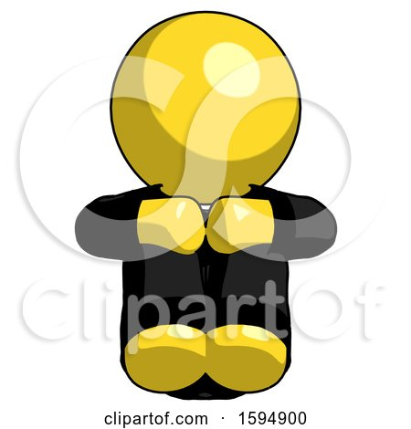 Yellow Clergy Man Sitting with Head down Facing Forward by Leo Blanchette
