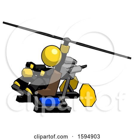 Yellow Clergy Man Flying in Gyrocopter Front Side Angle Top View by Leo Blanchette