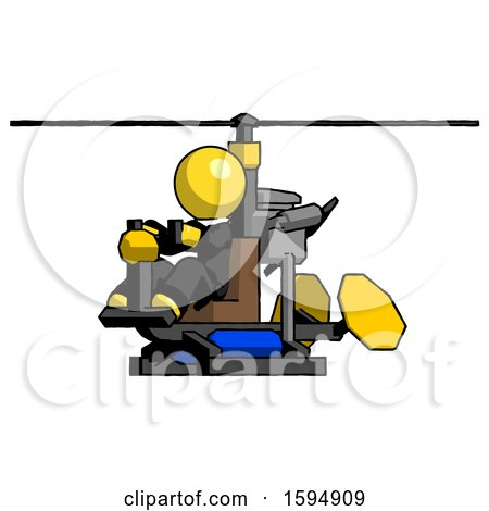 Yellow Clergy Man Flying in Gyrocopter Front Side Angle View by Leo Blanchette