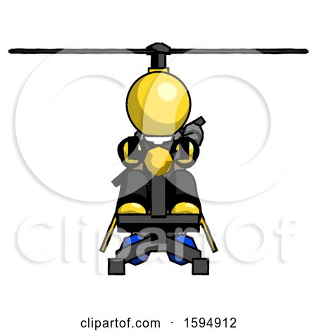 Yellow Clergy Man Flying in Gyrocopter Front View by Leo Blanchette