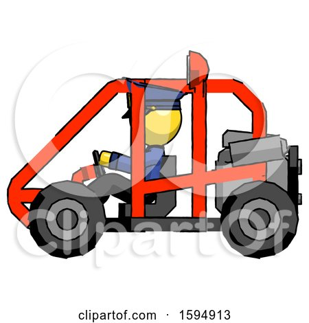 Yellow Police Man Riding Sports Buggy Side View by Leo Blanchette