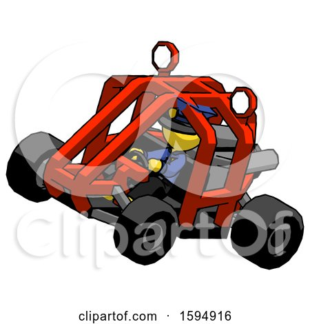 Yellow Police Man Riding Sports Buggy Side Top Angle View by Leo Blanchette