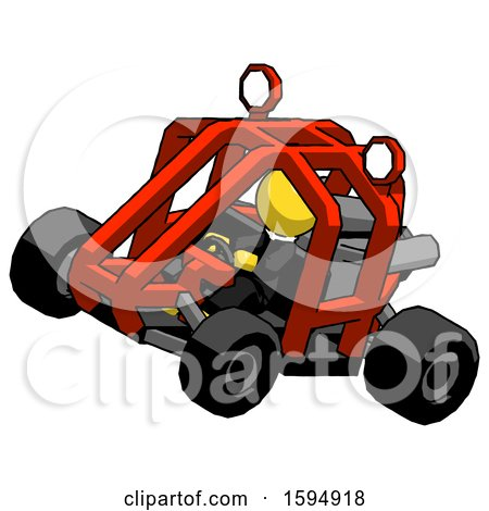 Yellow Clergy Man Riding Sports Buggy Side Top Angle View by Leo Blanchette