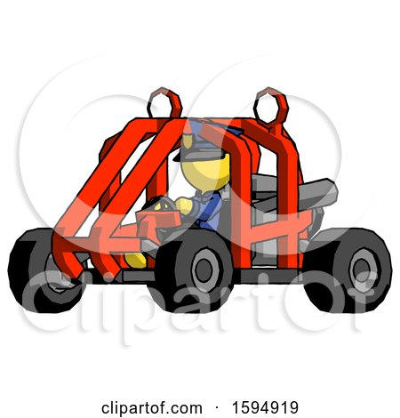 Yellow Police Man Riding Sports Buggy Side Angle View by Leo Blanchette