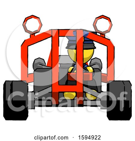 Yellow Police Man Riding Sports Buggy Front View by Leo Blanchette