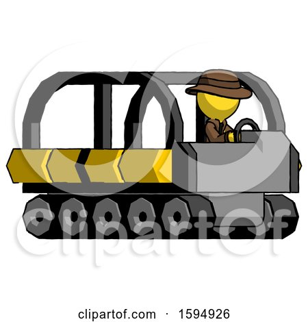 Yellow Detective Man Driving Amphibious Tracked Vehicle Side Angle View by Leo Blanchette