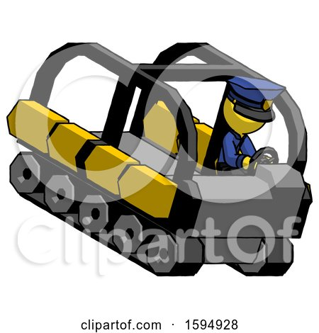 Yellow Police Man Driving Amphibious Tracked Vehicle Top Angle View by Leo Blanchette