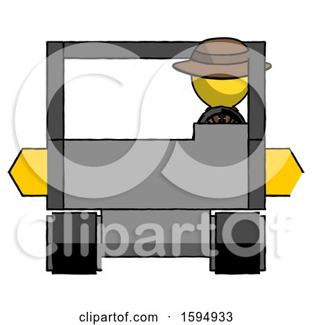 Yellow Detective Man Driving Amphibious Tracked Vehicle Front View by Leo Blanchette