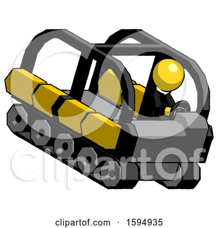 Yellow Clergy Man Driving Amphibious Tracked Vehicle Top Angle View by Leo Blanchette