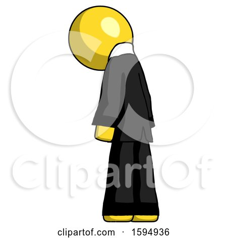 Yellow Clergy Man Depressed with Head Down, Back to Viewer, Left by Leo Blanchette