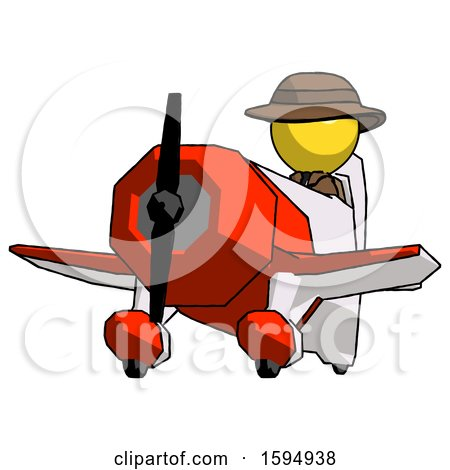 Yellow Detective Man Flying in Geebee Stunt Plane Viewed from Below by Leo Blanchette