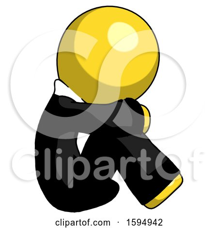 Yellow Clergy Man Sitting with Head down Facing Sideways Right by Leo Blanchette