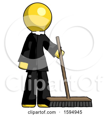 Yellow Clergy Man Standing with Industrial Broom by Leo Blanchette
