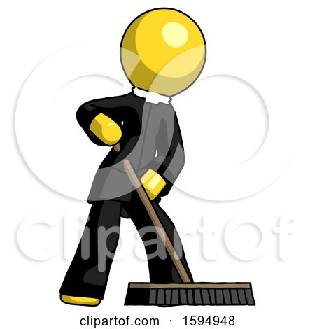 Yellow Clergy Man Cleaning Services Janitor Sweeping Floor with Push Broom by Leo Blanchette