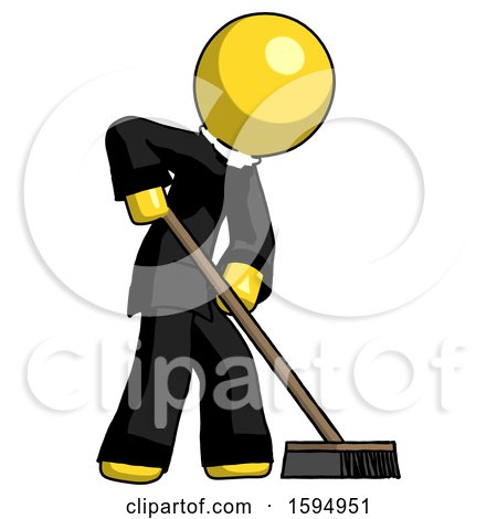 Yellow Clergy Man Cleaning Services Janitor Sweeping Side View by Leo Blanchette