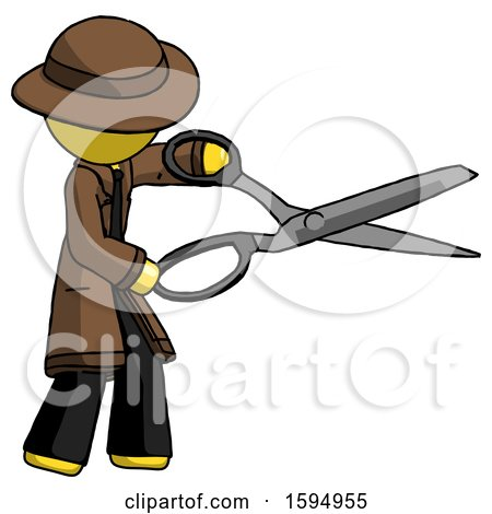 Yellow Detective Man Holding Giant Scissors Cutting out Something by Leo Blanchette