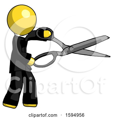 Yellow Clergy Man Holding Giant Scissors Cutting out Something by Leo Blanchette