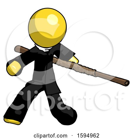 Yellow Clergy Man Bo Staff Action Hero Kung Fu Pose by Leo Blanchette