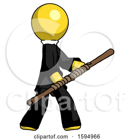 Yellow Clergy Man Holding Bo Staff in Sideways Defense Pose by Leo Blanchette