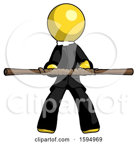 Yellow Clergy Man Bo Staff Kung Fu Defense Pose by Leo Blanchette