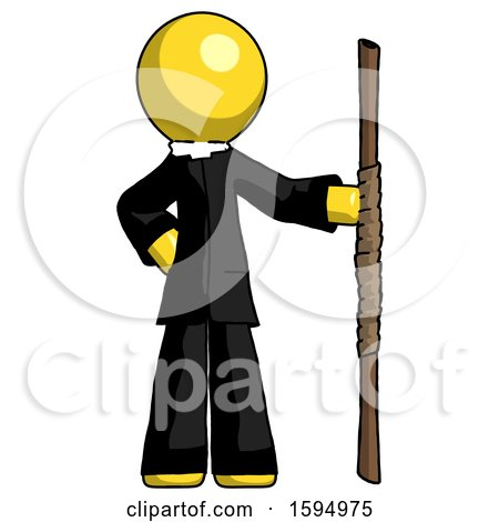 Yellow Clergy Man Holding Staff or Bo Staff by Leo Blanchette
