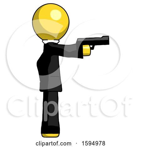 Yellow Clergy Man Firing a Handgun by Leo Blanchette
