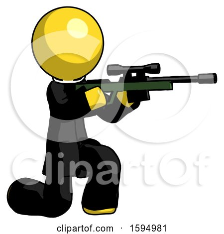 Yellow Clergy Man Kneeling Shooting Sniper Rifle by Leo Blanchette
