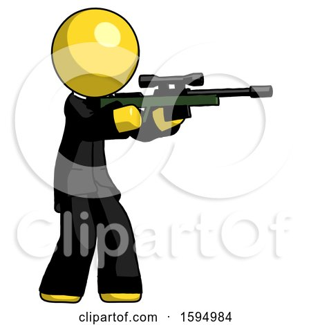 Yellow Clergy Man Shooting Sniper Rifle by Leo Blanchette