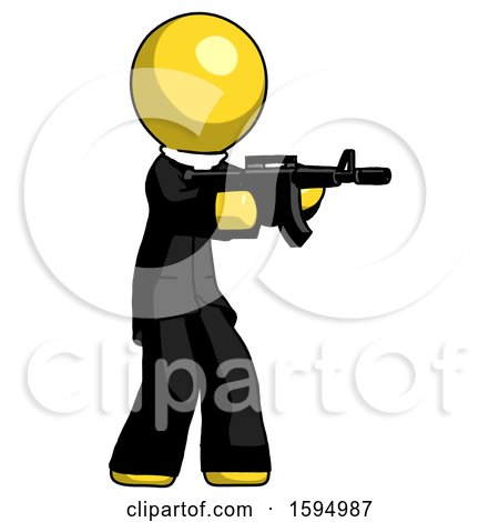 Yellow Clergy Man Shooting Automatic Assault Weapon by Leo Blanchette