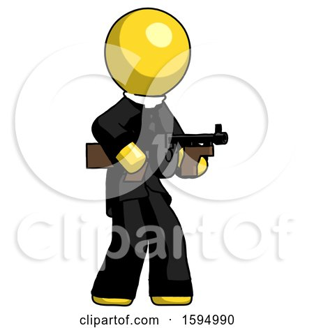 Yellow Clergy Man Tommy Gun Gangster Shooting Pose by Leo Blanchette