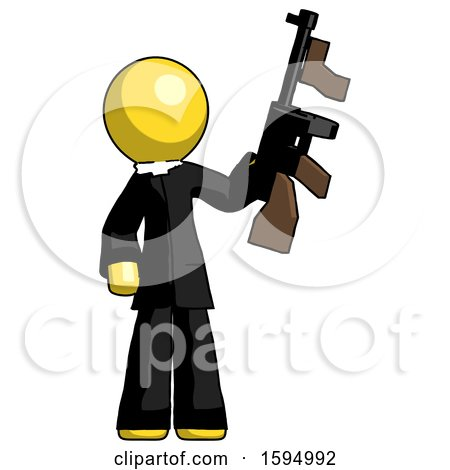 Yellow Clergy Man Holding Tommygun by Leo Blanchette