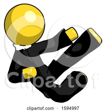 Yellow Clergy Man Flying Ninja Kick Right by Leo Blanchette