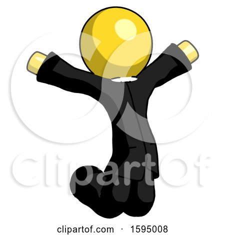 Yellow Clergy Man Jumping or Kneeling with Gladness by Leo Blanchette