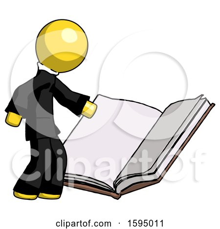 Yellow Clergy Man Reading Big Book While Standing Beside It by Leo Blanchette