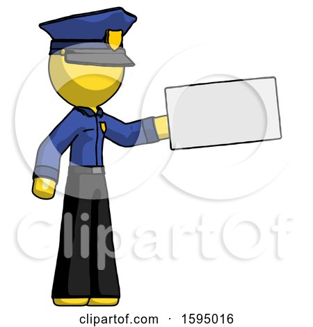 Yellow Police Man Holding Large Envelope by Leo Blanchette