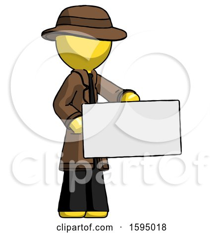 Yellow Detective Man Presenting Large Envelope by Leo Blanchette