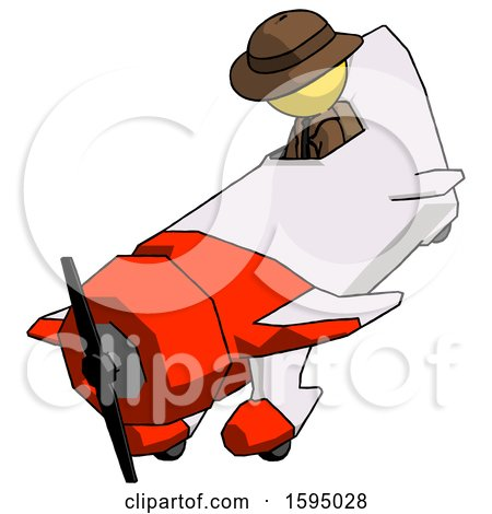 Yellow Detective Man in Geebee Stunt Plane Descending View by Leo Blanchette