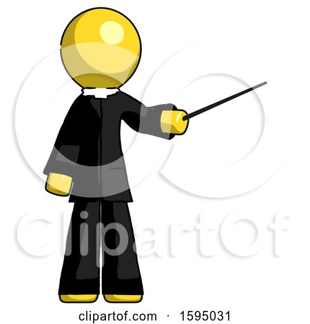 Yellow Clergy Man Teacher or Conductor with Stick or Baton Directing by Leo Blanchette
