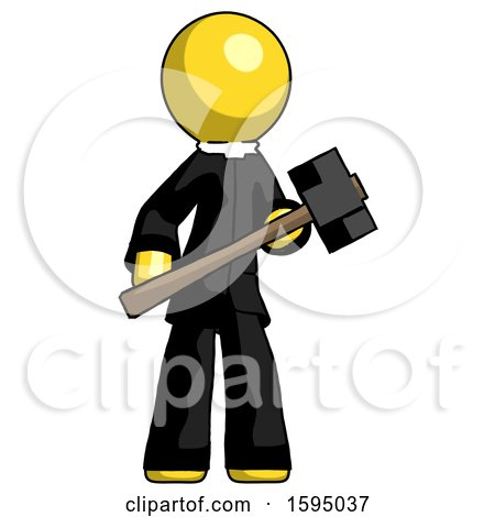 Yellow Clergy Man with Sledgehammer Standing Ready to Work or Defend by Leo Blanchette