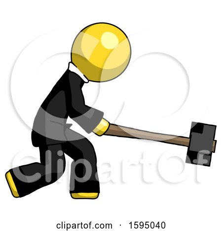 Yellow Clergy Man Hitting with Sledgehammer, or Smashing Something by Leo Blanchette