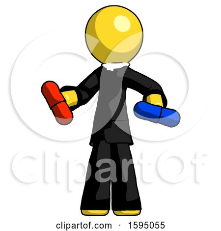 Yellow Clergy Man Red Pill or Blue Pill Concept by Leo Blanchette