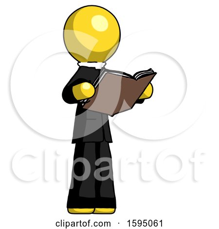 Yellow Clergy Man Reading Book While Standing up Facing Away by Leo Blanchette