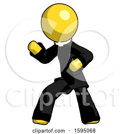 Yellow Clergy Man Martial Arts Defense Pose Left by Leo Blanchette