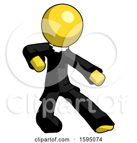 Yellow Clergy Man Karate Defense Pose Right by Leo Blanchette