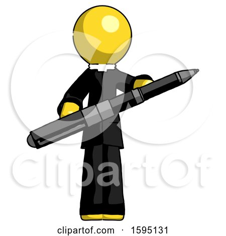 Yellow Clergy Man Posing Confidently with Giant Pen by Leo Blanchette