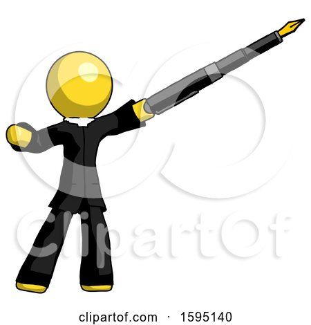 Yellow Clergy Man Pen Is Mightier Than the Sword Calligraphy Pose by Leo Blanchette