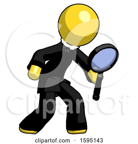 Yellow Clergy Man Inspecting with Large Magnifying Glass Right by Leo Blanchette