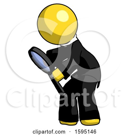 Yellow Clergy Man Inspecting with Large Magnifying Glass Left by Leo Blanchette