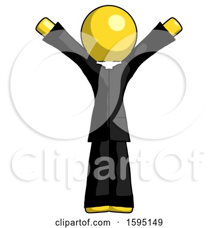Yellow Clergy Man with Arms out Joyfully by Leo Blanchette
