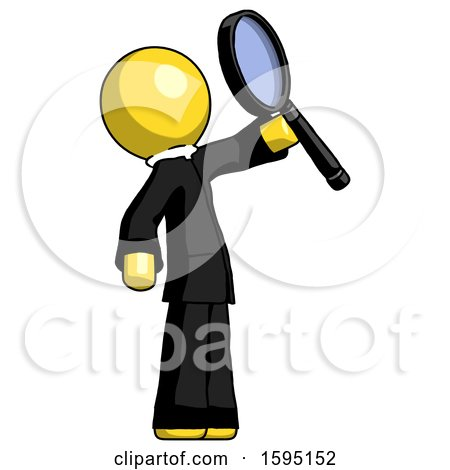 Yellow Clergy Man Inspecting with Large Magnifying Glass Facing up by Leo Blanchette